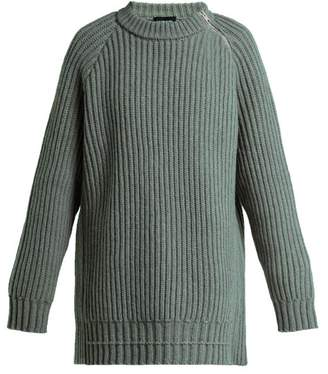 Calvin Klein Side Zip Oversized Lambswool Sweater - Womens - Grey