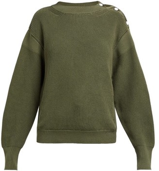 Moncler Button Trim Ribbed Knit Cotton Sweater - Womens - Dark Green