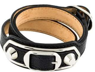 Balenciaga Arena Leather Giant Double Tour Wrap Bracelet