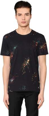 Valentino Fireworks Print Cotton Jersey T-Shirt