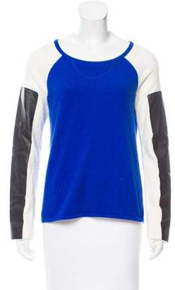 Aiko Leather-Accented Colorblock Sweater