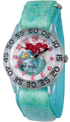 Disney Princess Ariel and Flounder Girls' Clear Plastic Time Teacher Watch, Green Hook and Loop Stretch Nylon Strap with Printed Ariel