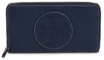 Tory Burch Women's Tory Burch Perforated Logo Zip Continental Wallet - Black