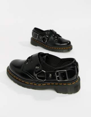 Dr. Martens Fulmar Black Leather Harness Flat Shoes