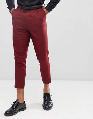Asos Design Tapered Suit Pants In Burgundy