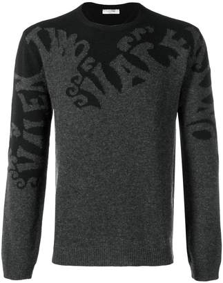 Valentino logo-wave jacquard knit jumper