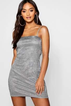 boohoo Petite Lurex Metallic Square Neck Mini Dress