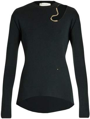 Esteban Cortazar Abstract cut-out wool and silk-blend sweater