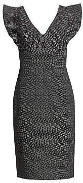 ML Monique Lhuillier Women's Ruffle Sleeve Print Sheath Cocktail Dress