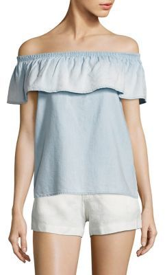 Joie Soft Joie Vilma Chambray Off-The-Shoulder Top $138 thestylecure.com