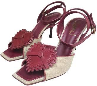 Saint Laurent Vintage Burgundy Leather Sandals