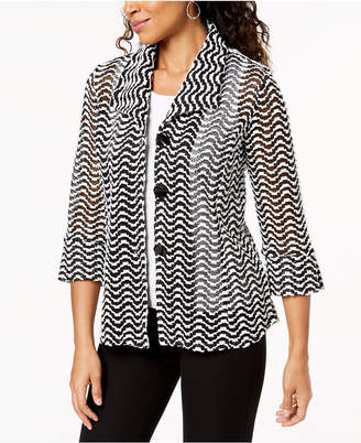 JM Collection Printed Three-Quarter-Sleeve Jacket, Created for Macy's