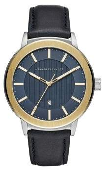 Armani Exchange Maddox Stainless Steel and Matte Leather-Strap Watch
