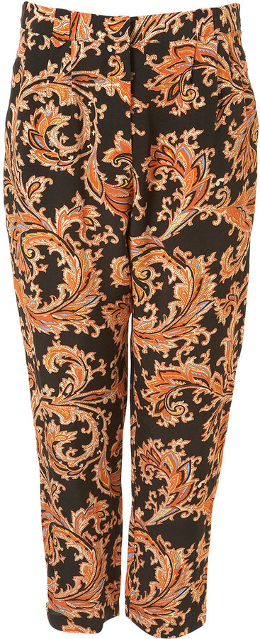 Orange Paisley Printed Trouser