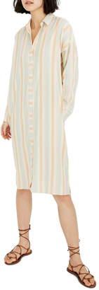 Madewell Rainbow Stripe Long Sleeve Tunic Shirtdress