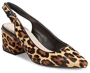 Aldo Leopard Leather Slingback Pumps