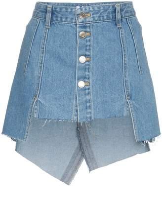 Sjyp Cut Out Front Denim Mini Skirt