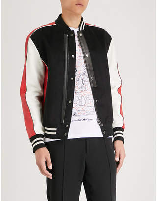 Alexander McQueen Contrast-panel leather and woven bomber jacket