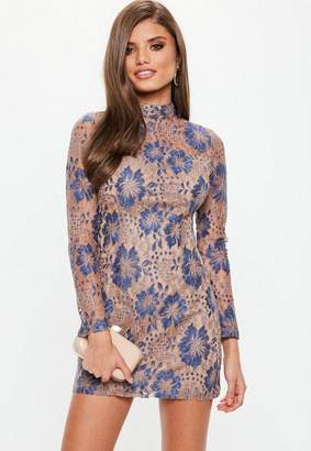 Missguided Nude High Neck Contrast Lace Dress