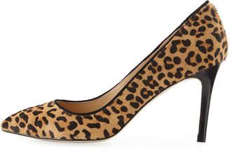 Neiman Marcus Jane Calf Hair Pointed Pumps, Leopard