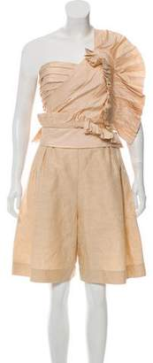 Chloé Pleated One-Shoulder Romper