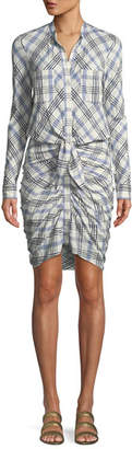 Veronica Beard Della Plaid Tie Front Dress