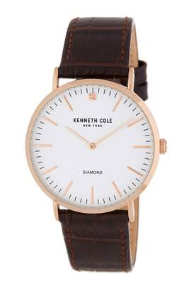 Kenneth Cole New York Men's CZ Accent Croc Embossed Leather Strap Watch, 35mm