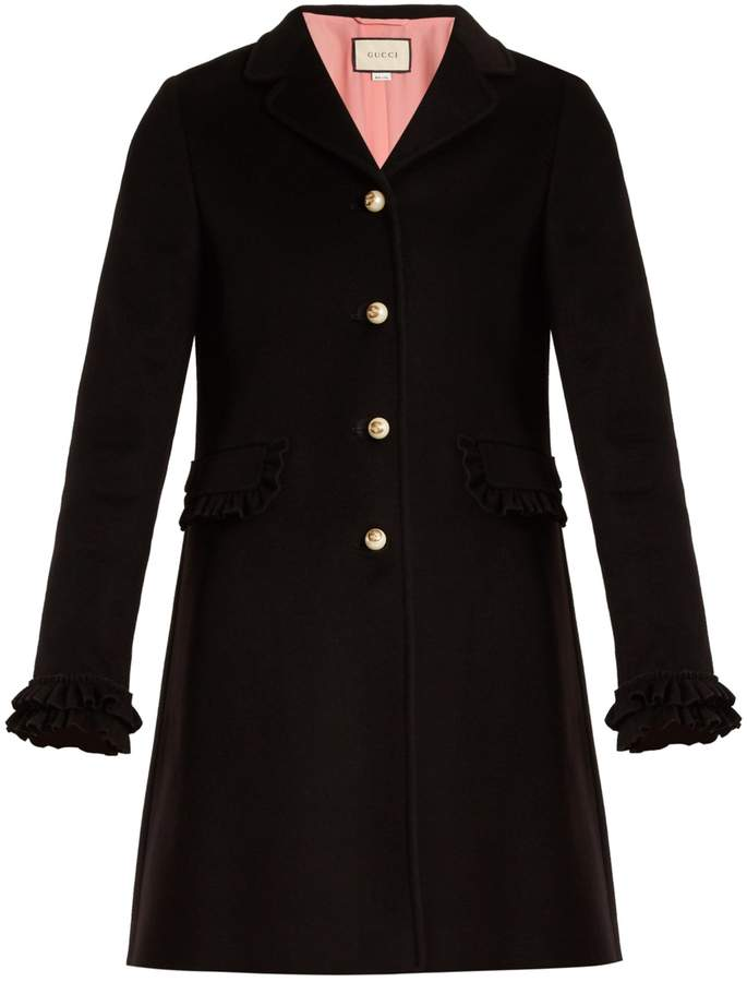 GUCCI Ruffled-cuff wool coat
