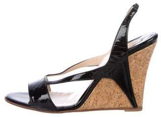 Christian Louboutin Patent Leather Slingback Wedges
