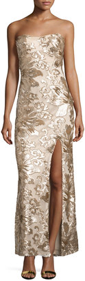 Marina Floral-Sequin Strapless Gown, Gold $165 thestylecure.com