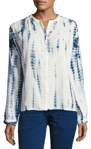 BA&SH ba&sh Beija Tie-Dye Collarless Shirt, Blue/White
