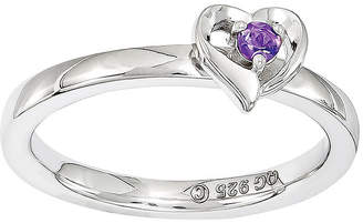 JCPenney FINE JEWELRY Personally Stackable Sterling Silver Amethyst Heart Ring