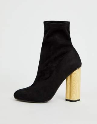 Eliza J Asos Design ASOS DESIGN wooden heeled sock boots