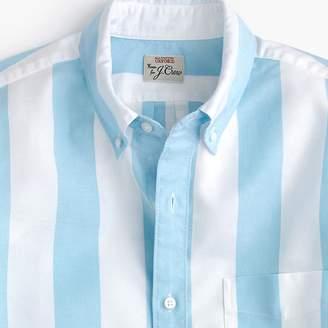 J.Crew Short-sleeve stretch American Pima oxford shirt in blue stripe