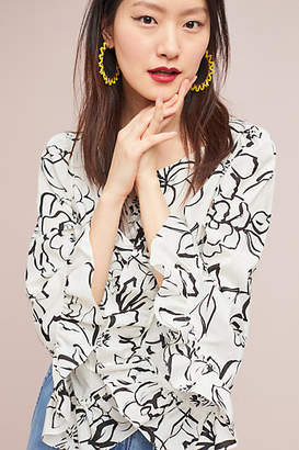 Tracy Reese Bell-Sleeved Floral Blouse