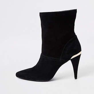 River Island Black wide fit suede slouch cone heel boots