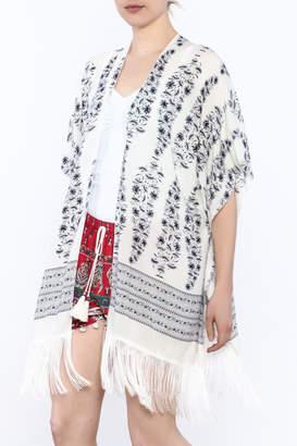 Janice White Fringed Kimono