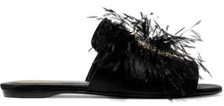 Roger Vivier Rabat Feather And Crystal-embellished Satin Slides - Black