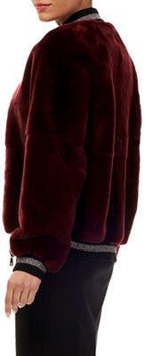 Gorski Rabbit Fur Wool Glitter-Trim Bomber Jacket