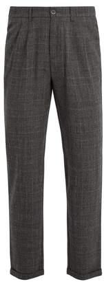 Barena Venezia - Wide Leg Checked Wool Trousers - Mens - Grey