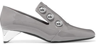 Burberry Studded Patent-leather Pumps - Gray