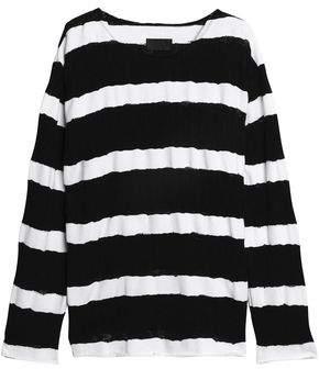 RtA Distressed Striped Cotton Sweater