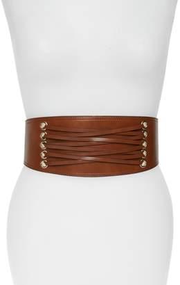 Halogen Laced Corset Stretch Faux Leather Belt