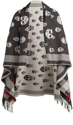 Alexander McQueen Skull-jacquard wool and cashmere-blend scarf