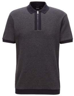 BOSS Hugo Relaxed-fit polo shirt in cotton zipper neck M Open Blue