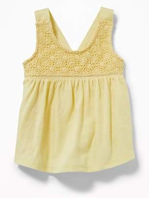 Old Navy Crochet-Lace Yoke Tank for Toddler Girls