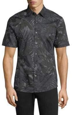Michael Kors Slim-Fit Printed Short-Sleeve Shirt