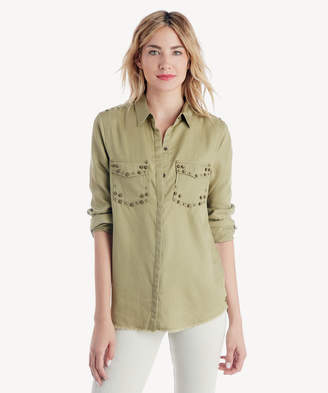 Scotch & Soda Women's Tencel Stud Detail Shirt In Color: Olive Size Extra Small From Sole Society