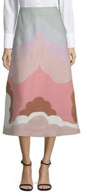Valentino Linen Wave Midi Skirt