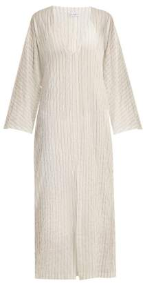 Raey - Kimono Sleeve Striped Sheer Cotton Beach Dress - Womens - White Stripe